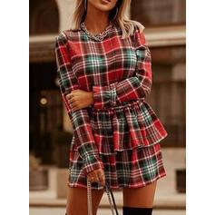 Tela escocesa Manga Larga Cubierta Sobre la Rodilla Casual Vestidos