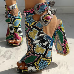Donna PU Tacco spesso Sandalo Punta aperta con Fibbia Animale Stampa scarpe
