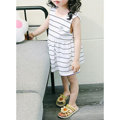 Girls Round Neck Striped Casual Cute Dress