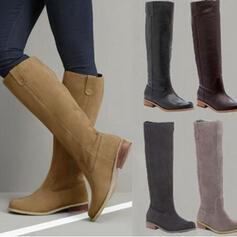 Kvinnor PU Låg Klack Knäkickkängor med Zipper skor