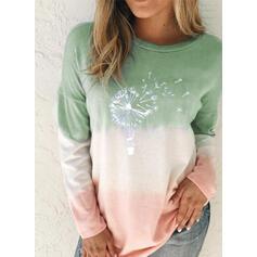 Print Tie Dye Round Neck Long Sleeves Sweatshirt