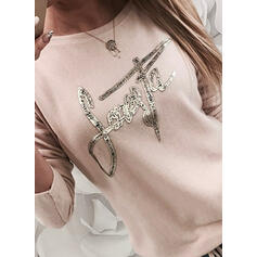 Sequins Figure Round Neck Long Sleeves Casual T-shirts