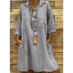 Solid 3/4 Sleeves Shift Knee Length Casual Dresses