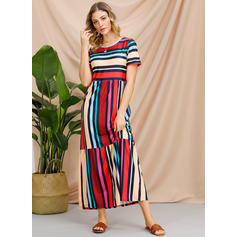 Striped Short Sleeves A-line Casual/Vacation Maxi Dresses