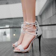 Dla kobiet Skóra ekologiczna Obcas Stiletto Sandały Czólenka Otwarty Nosek Buta Z Sznurowanie obuwie