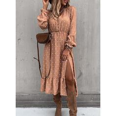 PolkaDot Long Sleeves/Puff Sleeves A-line Skater Casual/Elegant Midi Dresses