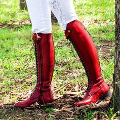 Mulheres PU Sem salto Sem salto Fechados Botas com Aplicação de renda sapatos
