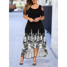Plus μέγεθος Minta Rövidujjú Μια σειρά Ασύμμετρο Ανέμελος Κομψός Φόρεμα