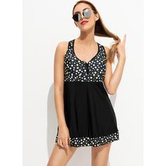 Dot Strap Beautiful Plus Size Swimdresses Swimsuits