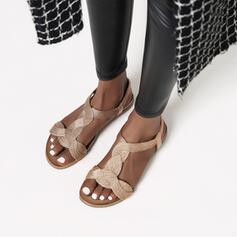 Frauen Microfaser-Leder Flascher Absatz Sandalen Flache Schuhe Schuhe
