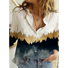 Print Forest Lapel Long Sleeves Button Up Casual Shirt Blouses