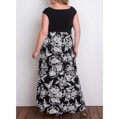 Estampado/Floral Sem mangas Evasê Casual/Elegante/Tamanho positivo Maxi Vestidos