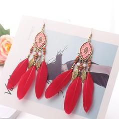 Unique Alliage Feather Acrylique Femmes Boucles d'oreilles