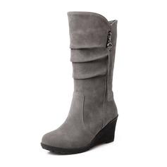 Femmes Suède Talon compensé Bout fermé Compensée Bottes mi-mollets chaussures