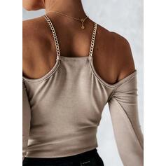 Jednolity Zimne ramię Długie rękawy T-shirty