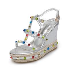 Dla kobiet PU Obcas Koturnowy Sandały Koturny Otwarty Nosek Buta Bez Pięty Z Stras/ Krysztal Górski obuwie