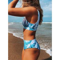 Hög Midja Tryck U-ringning Sexig Färska bikini Badkläder