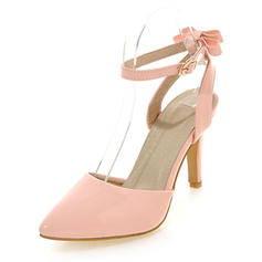 Women's Patent Leather Stiletto Heel Pumps Closed Toe Mary Jane With Buckle shoes