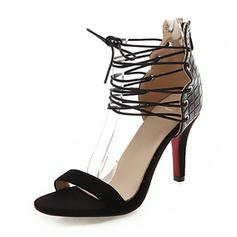 Women's Leatherette Stiletto Heel Sandals Pumps Peep Toe With Lace-up shoes