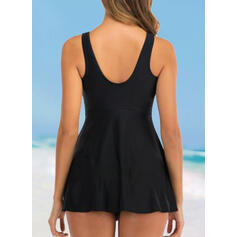 Stripe U-Neck Eye-catching Casual Swimdresses Swimsuits