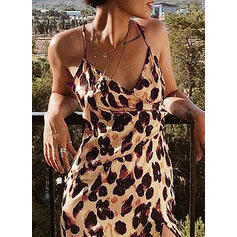 Print Sleeveless Sheath Above Knee Sexy/Party Slip Dresses