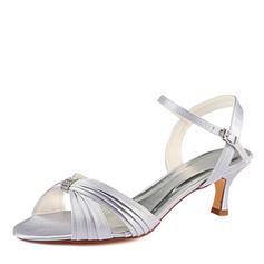 Dla kobiet Satyna Jedwabna Obcas Stiletto Sandały Z Żabot Kryształ