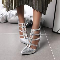 Donna Similpelle Tacco a spillo Stiletto con Strass Cerniera scarpe
