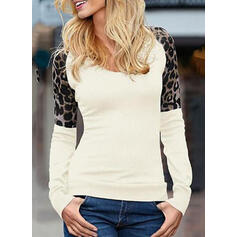 Leopard Round Neck Long Sleeves Casual Knit T-shirts