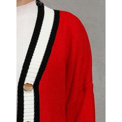 Polyester Langermer Color Block Cardigans