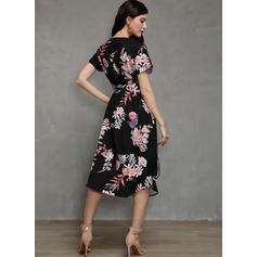 Print/Floral Short Sleeves Sheath Casual/Vacation Midi Dresses