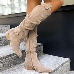 Femmes Suède Talon bottier Bottes d'hiver avec Zip Boutons Couleur unie chaussures