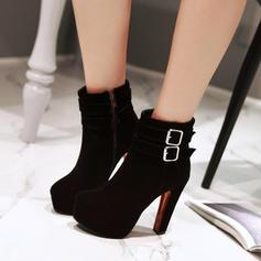 Donna Camoscio Tacco spesso Stiletto Piattaforma Stivali con Fibbia Cerniera scarpe