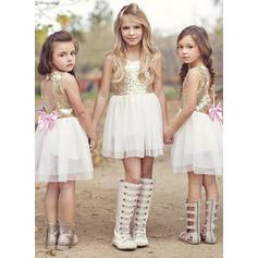 6a8b35e007 Dziewczyny Okrągły Dekolt Cekin Kokarda Ładny Flower Girl Sukienka ...