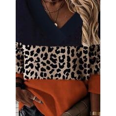 Цветной блок леопард V шеи Длинные рукова Фуфайка