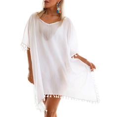Solid Color Tassels Round Neck Elegant Cover-ups Swimsuits