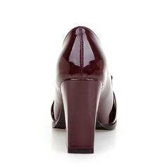 Mulheres Couro Brilhante Salto robusto Bombas Fechados sapatos