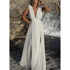 Solid Sleeveless A-line Skater Party/Vacation Maxi Dresses