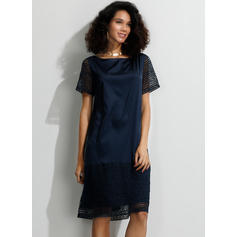 Lace/Solid Short Sleeves Shift Knee Length Casual/Elegant T-shirt Dresses