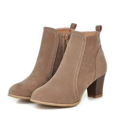 Femmes Suède Talon bottier Escarpins Bottes Bottines avec Zip chaussures