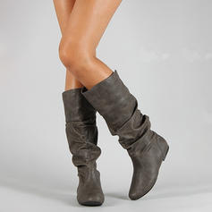 Women's Leatherette Flat Heel Closed Toe Boots Knee High Boots With Others shoes