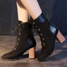 Women's Suede Stiletto Heel Ankle Boots With Lace-up shoes