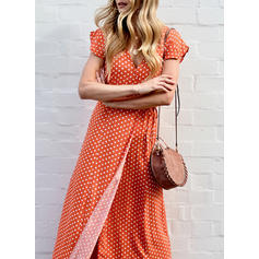 PolkaDot Short Sleeves A-line Casual/Elegant Maxi Dresses