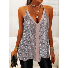Sequins Spaghetti Strap Sleeveless Casual Tank Tops