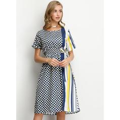 Print Short Sleeves A-line Knee Length Casual/Elegant Dresses