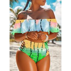 Print helling Strapless Off-the-shoulder Boheems Grote maat Bikini's Badpakken