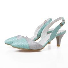 Frauen Kunstleder Funkelnde Glitzer Kegel Absatz Absatzschuhe Geschlossene Zehe Schuhe