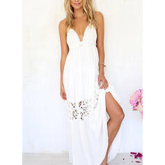 Lace/Solid Sleeveless A-line Casual/Vacation Midi Dresses