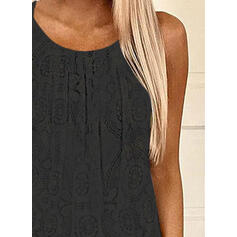 Lace Round Neck Sleeveless Casual Tank Tops