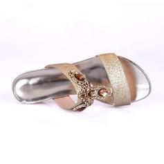 De mujer Brillo Chispeante Tacón bajo Sandalias Planos Encaje Pantuflas con Rhinestone Crystal zapatos