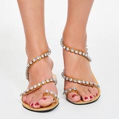 Women's Leatherette Flat Heel Sandals Flats Peep Toe With Rhinestone shoes